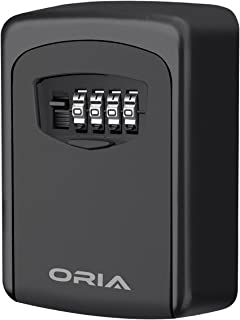 ORIA Key Storage Lock Box, 4 Digit Combination Lock Box, Wall Mounted Lock Box, Resettable Code, 5 Key Capacity, Black