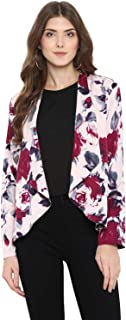 Purys Women's Polyester Floral Printed Blazer