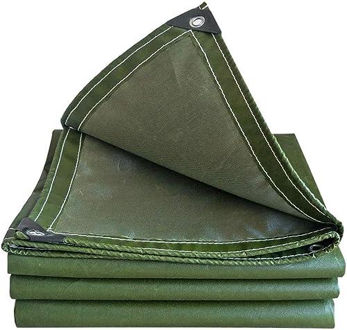 NANIH Home Tente extérieure bache Cargaison écran Solaire Prougeection de bache résistant à l'usure extérieure en Bois Tissu de Prougeection Tissu Toile de feu épaissie (Couleur   vert, Taille   4x4M)