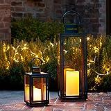 Set di 2 Lanterne in Metallo zincato nero con candele LED per esterno