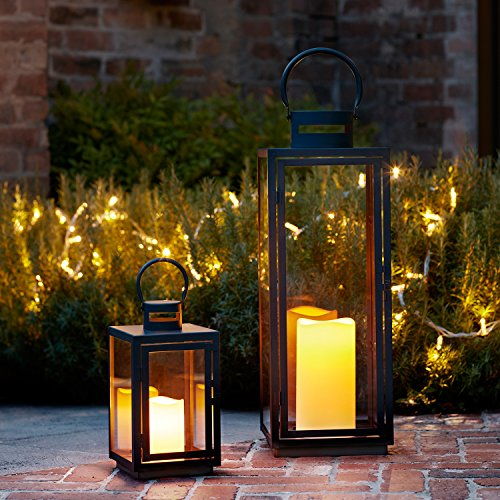 Set di 2 Lanterne in Metallo Zincato Nero con Candele LED per Interni ed Esterni di Lights4fun