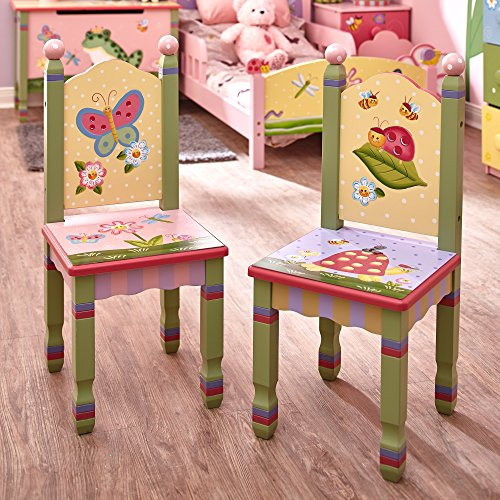 Fantasy Fields - Magic Garden Thematic Kids Wooden 2 Chairs Set |Imagination Inspiring Hand Crafted & Hand Painted Details | Non-Toxic, Lead Free Water-based Paint