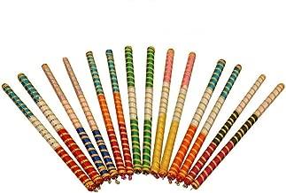 Craftsman 4 pc ( 2 Pair) Dandiya/Dandia Sticks Large 15 Inch - Beautiful Wooden Stick , 2 Pairs of Multi Color Dandiya Sticks for Couple, Special Navaratri Ocassion