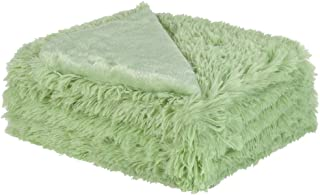 uxcell Solid Faux Fur Throw Blanket 50 inches x 60 inches - Decorative Fuzzy Long Shaggy Blankets Lightweight Long Fur Microfiber Fleece Blanket for Couch and Sofa - Keep Warmth for Years,Pale Green