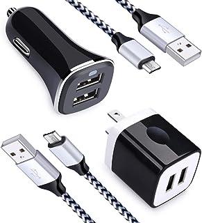 شاحن سيارة 2.4A ثنائي المنفذ USB + 2.1 أمبير شاحن حائط ثنائي المنفذ كتلة الطوب + 2 حزمة كابل شحن USB شاحن هاتف متوافق مع س...