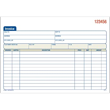Adams Invoice Book, 3-Part, Carbonless, 5.56 x 8.44 Inch, 50 Sets per Book, White, Canary, and Pink (TC5840)