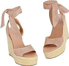 Amazon.com: Lace Up Wedge Sandals