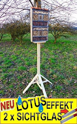 Black insektenhotel MIT STÄNDER, mit Holzrinde-Naturdach, mit Spezialoberflächenbeschichtung Lotus, FDV-Holo-MS groß 130.5 cm schwarz kleines Vogelhaus Meisen nistkästen