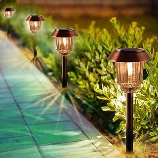 XMCOSY+ Solar Pathway Lights - 4 Pack Solar Lights Outdoor Garden, Solar Path Lights IP65 Waterproof Auto On/Off, 10-40 Lm...