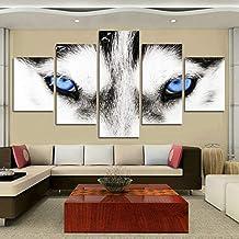 YYZBJAOZ 5 لوحات حيوان الذئب طباعة قماش الحديثة اللوحة جدار الفن وحدات ملصق غرفة المعيشة صورة ديكور المنزل الفن