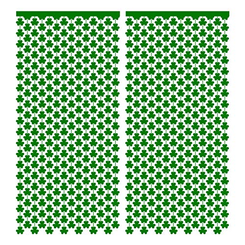 St.Patrick's Day Shamrock Foil Curtain - Irish Lucky Green Clover Backdrop Photo Booth Party Decorations Supplies 3PCS