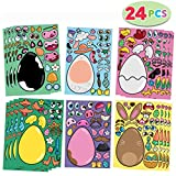 24 PCS Mix and Match Make-a-Face Animal Stickers with Easter Egg Themed Pig, Bunny, Chicken, Cow, Sheep, Duck Party Favor Supplies Craft