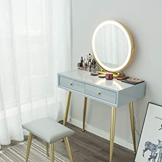 YOURLITEAMZ Makeup Vanity Table Set with 3 Adjustable Lighted LED Mirror and Cushioned Stool, 2 Drawers Angle-Adjustable M...