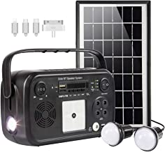 soyond Portable Solar Generator with Solar Panel Solar Powered Generator Kit with Flashlights, Bluetooth, MP3 Player, FM Radio for Home Emergency Backup Power Camping Outage(Black Retro Style