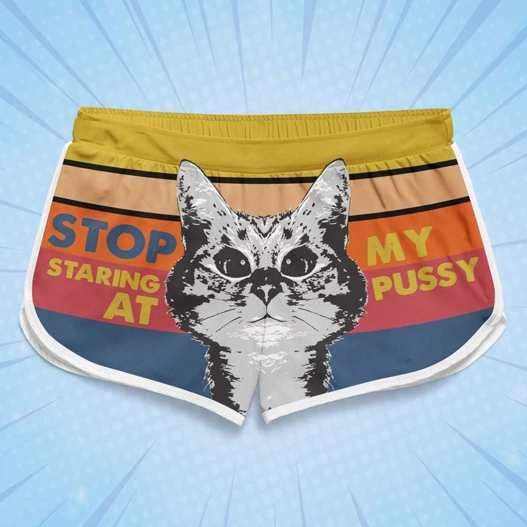 Stop atarng at My Pussy Womens Board Short Quick Dry Swim Trunks Casual Hot Pants Cartoon Print Stripe Sports Beach Shorts