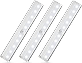 Nilight Motion Sensor Closet Lights 3PCS Cabinet Light DIY Stick-on Anywhere Portable 10LED Wireless Cabinet Night/Stairs Light Bar Safe Lights with Magnetic Strip-Cool White, 2 Years Warranty