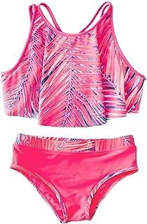 Little Girls (2T-6X) 2-Piece Ruffle Bathing Suits Summer Beach Sports Palm Print Bikini Swimsuit