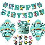 CYSJ Robot Juego temático Party Supplies 28Pcs Decoración de cumpleaños Fiesta temática Decoracion para Niños Baby Shower Decoración Banner de Feliz cumpleaños,Globo,Adorno de Torta