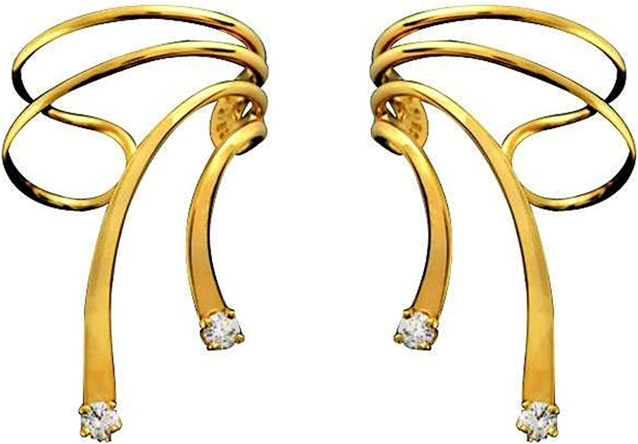 Gold Vermeil Cubic Zirconia A surprise price is realized Short Cuff Set Wrap Ear Max 83% OFF Wave