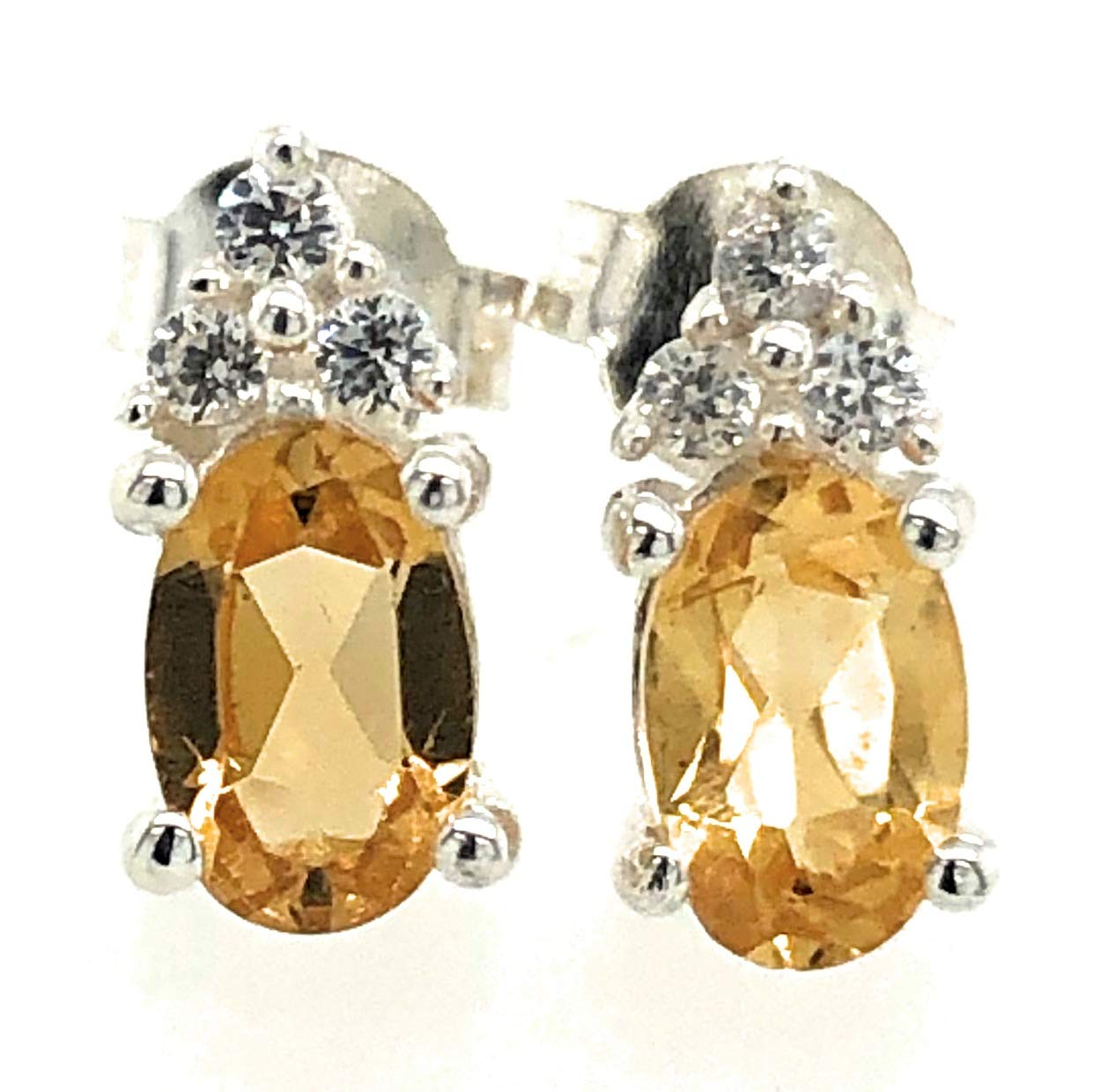 Natural 1.5ct New York Mall Golden Citrine 925 Solid Earrings Sterling Silver National uniform free shipping