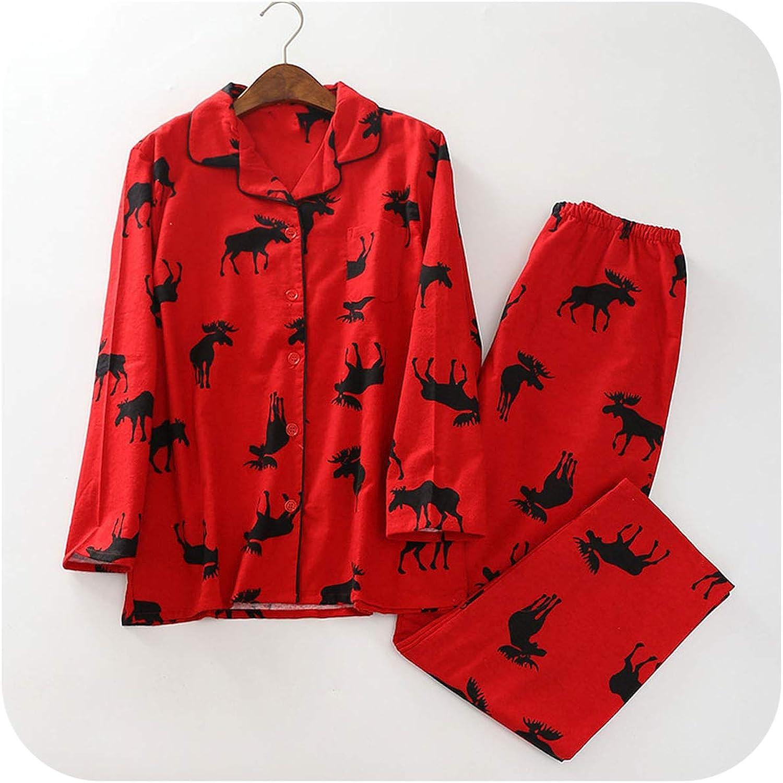 Boomshop Sleepwear Red Christmas Pajamas Women Brushed Cotton Long Sleeve Elastic Waist Pants Lounge Nightwear