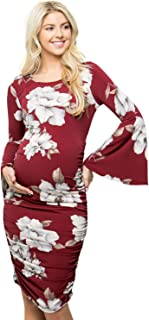 My Bump Women's Maternity Fitted Bell Sleeve Dress W/Ruched