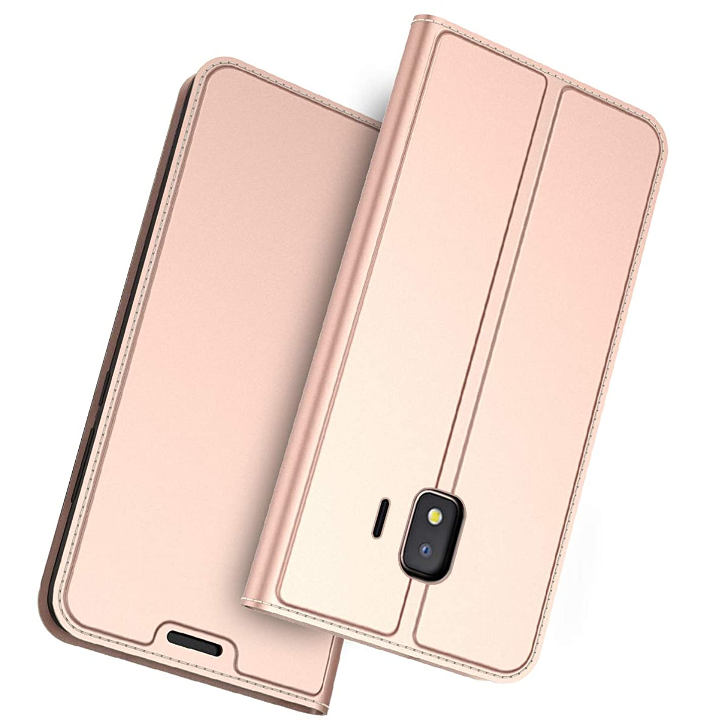 Happon for Samsung Galaxy J2 Core Genuine Leather Wallet Case Cover, Flip Stand, Card Slot, Stylish, Rose Gold