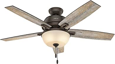 "Hunter Fan Company 53333 52"" Donegan Onyx Bengal Ceiling Fan with Light, White"