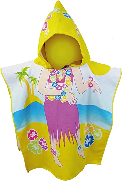 Kids Hooded Beach Pool Bath Towel Soft Microfiber Multi Purpose Poncho Swim Cover Changing Robe W Fun Characters Hawaiian Girl