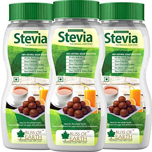 Bliss of Earth 99.8% REB-A Purity Stevia Powder for Diabetic, Natural & Sugarfree, Zero Calorie Keto Sweetener, 3X200GM