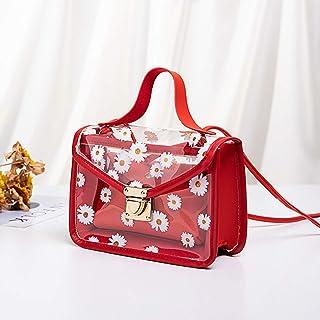 KLOP256 Bolso de hombro para mujer Casual PU Cuero con bolsa desmontable Diario Viaje Daisy Pattern Transparente Pequeño T...