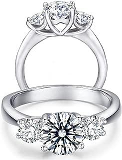 Diamonbella 10 Hearts 10 Arrows 2 Carat 3 Stones Round Cut Simulated Diamond Ring Solid 925 Silver Platinum Plated