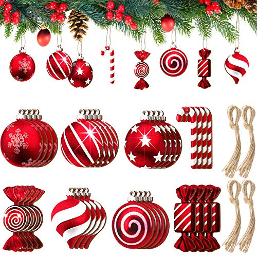 Jetec 40 Pieces Christmas Tree Hanging Ornament Candy Ornament Candy Cane Decoration Bell Shape Wooden Decoration Bell Cutout Christmas Slices for Tree Holiday Party Home Decor