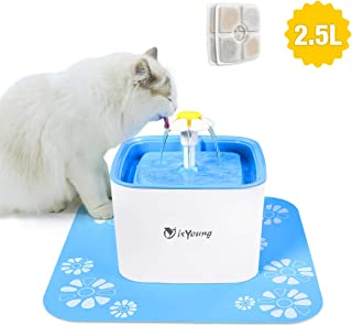 isYoung Pet Water Fountain, 84Oz/2.5L Super Quiet Automatic Electric Water Dispenser, Healthy and Hygienic Cat Drinking Fountain with 2 Replacement Filters for Dogs, Cat and Small Animals