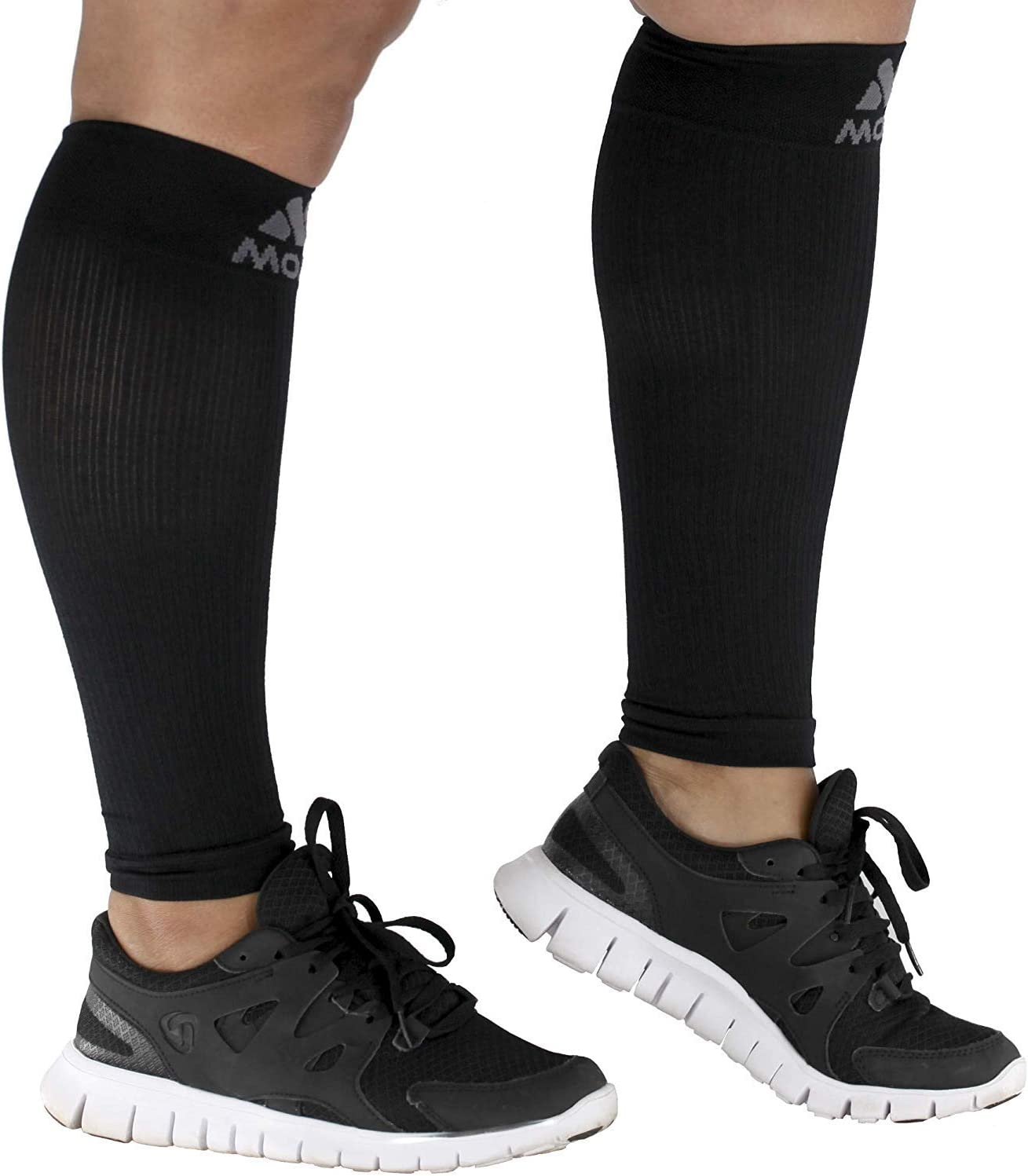 20-30mHg Black 6-XL Mojo Compression Extra Wide Calf Sleeves for Women and Men