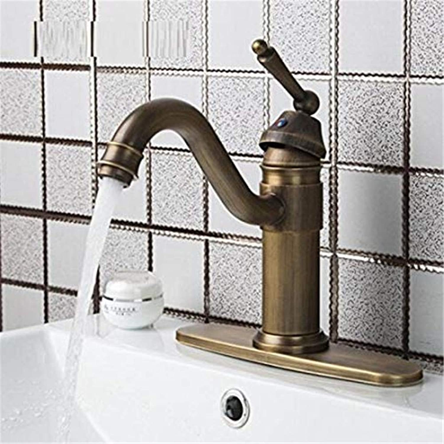 CFHJN HOME Taps Tap Vintage Swivel Antique Brass Single Handle Cover Plate Hot Cold Hose Basin Kitchen Sink Torneiras Faucet Mixer Taps