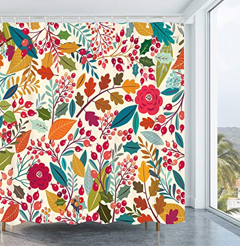 Get Orange Vintage Floral Shower Curtain Floral Tropical Exotic Fruit Waterproof Polyester Fabric Bathroom Shower Curtain Sets Decor with Hooks 72X72 Inches
