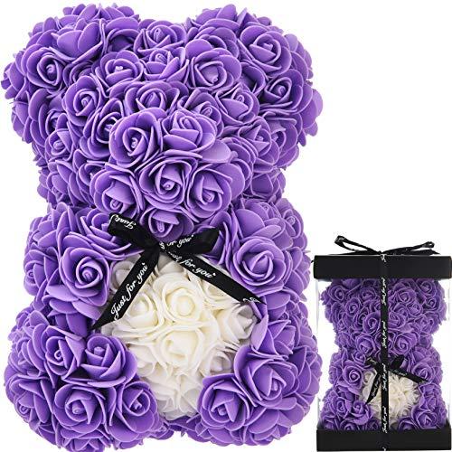 Oso de Rosas Flores Artificiales Peluche Oso - Regalos Originales para Mujer Regalo Mujer Novias Regalo Madres Regalos Mujeres Rosas Artificiales Aniversario cumpleaños de San Valentín (Morado)