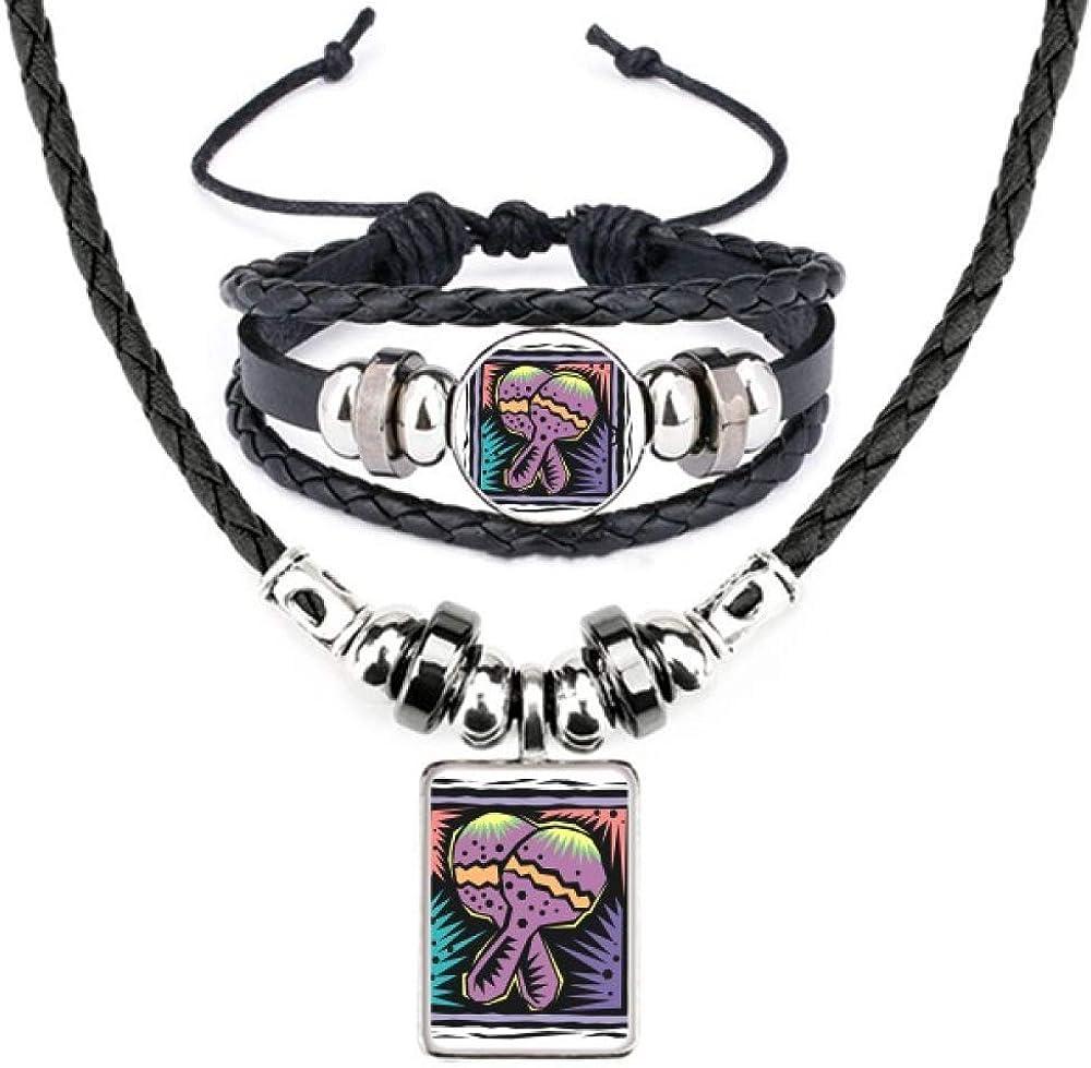 Purple Racket Mexicon Culture Element Engraving Leather Necklace Bracelet Jewelry Set