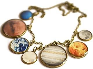 Little Planetarium Solar System Sun Moon Planets Galaxy Necklace for Women