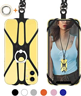 SHANSHUI Phone Lanyard, 2 in 1 Detachable Neck Strap Silicone Case Holder with Ring Stand..