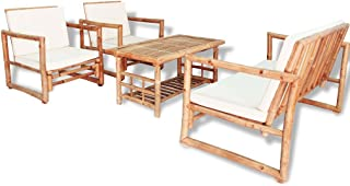 vidaXL Set Muebles Jardín 12 Pzas Bambú Mesa Sillones Patio Terraza Exterior
