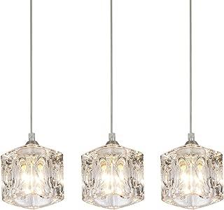 COTULIN Set of 3 Modern Living Room Dining Room Bedroom Cute Crystal Pendant Light,Pendant Light Fixture with Crystal Shade