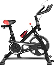 Stationary Bike, Flywheel Indoor Cycling Exercise Bike with Heart Rate, Quiet Smooth Belt Drive System, Adjustable Seat & ...