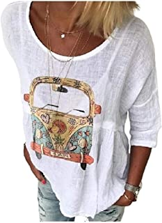 UUYUK Womens Crew Printed Top Shirts Pullover Patterned Outdoors Tees