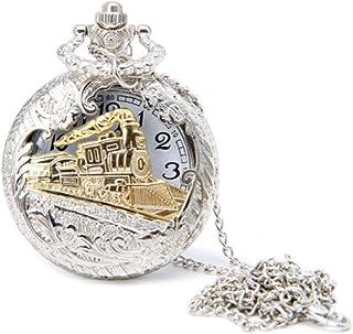 wsloftyGYd Vintage Steam Train Antique Chain Quartz Locomotive Pendant Pocket Watch Gift