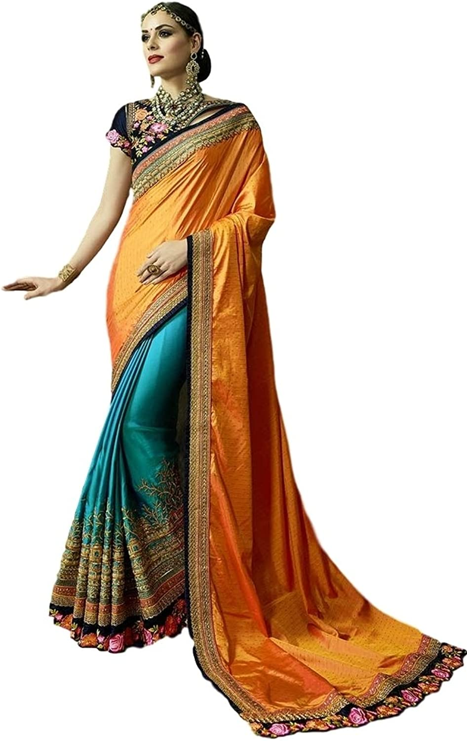 EthnicWear Latest Trendy Desginer Half n Half orange bluee Indian Women Embroidered Sarin Crape Silk Saree Sari