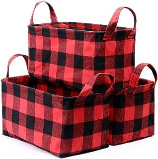 Kaaltisy Lot de 3 paniers de rangement décoratifs pour jouets, vêtements, crèche, placard, maison, bureau, grille rouge et...