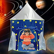 Wilhunter Kids Rocket Play Tent for Boys Spaceship Playhouse Toys, Night Glow Children's Astronaut Space Ship Tents, Foldable Gifts for Indoor Outdoor Games (Blue)