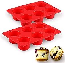 SJ European LFGB Silicone Jumbo Muffin Pan, 6 Cups Large Egg Cupcake Pans, Texas Muffin Pans, Non-Stick & BPA Free, Pack of 2